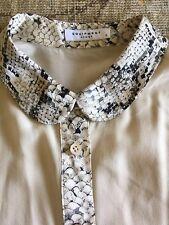 Equipment Silk Blose With Snakeskin Print Collar Sz S