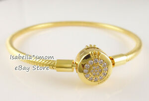 "SPARKLING O CROWN Genuine PANDORA Shine GOLD plated Bracelet 7.5""19cm 569046C01"