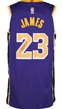 Los Angeles Lakers #23 Lebron James Autographed Purple Jersey PSA/DNA COA