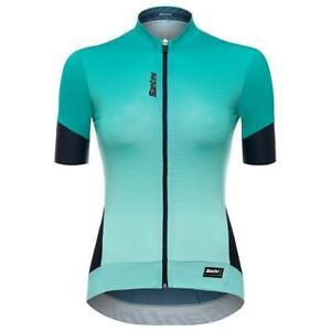 Women's Queen 2.0 Short Sleeve Cycling Jersey in Aqua by Santini