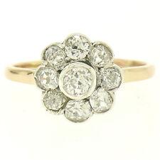 Antique .583 14k Rose & White Gold 1.40ctw Old Mine Cut Diamond Cluster Ring