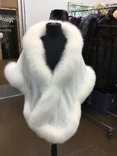 NATURAL WHITE FOX CRYSTALS DETAILING SHAWL WRAP SHRUG CAPE BRIDAL BRIDE  NEW