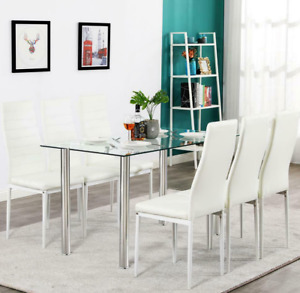 Hot 7 Piece Dining Table Set 6 Chairs Glass Metal Kitchen Room Furniture White