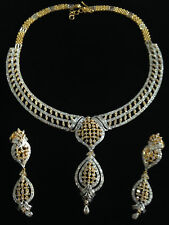 Pave 14.40 Cts Round Brilliant Cut Diamonds Necklace Earrings Set In 14K Gold