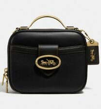 Coach Riley Lunchbox Bag In Black Leather
