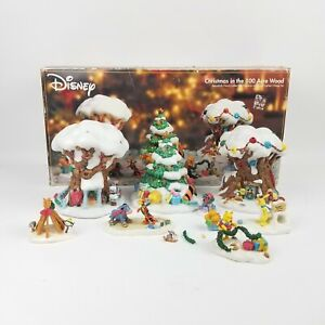 Rare! Disney Christmas In The 100 Acre Wood Lighted Village 8 Piece Set *READ!