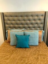 Studded Diamond & Smoke Grey Queen Sized Bed