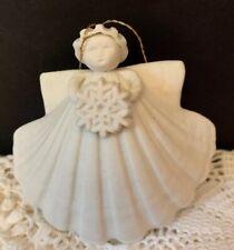 "Margaret Furlong Shell Angel Ornament Holding Snowflake 1989 3"""