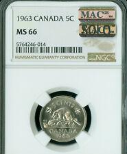 1963 CANADA 5 CENTS NGC MS66 PQ BU STRIKE MAC SOLO FINEST GRADE MAC SPOTLESS  .
