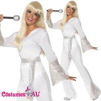 Ladies Dancing Queen 60s 70s Costume White Retro Hippie Disco ABBA Fancy Dress