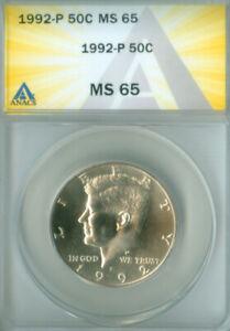 1992-P KENNEDY HALF DOLLAR ANACS MS65 FREE S/H (2026216)