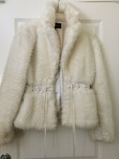 WOMENS FAUX FUR COAT JACKET WINTER OUTERWEAR WHITE LONG SLEEVE FASHION OVERCOAT