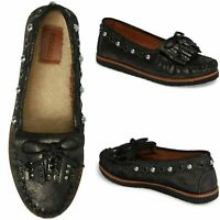 NEW $195 COACH Roccasin Embellished Women Suede Moccasin Flats Black Size 9.5