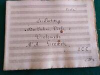 1800-1825 SPARTITO MANOSCRITTO DI M.A.GIROWITZ PER VIOLINO, VIOLA E VIOLONCELLO