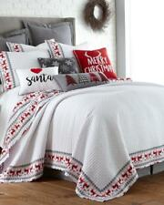 CHRISTMAS Rudolph Reindeer Luxury Quilt FULL QUEEN Red White Gray