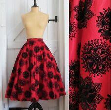 Original Vintage 50s Red & Black Velvet Flocked Taffeta Full Circle Skirt 6