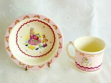 GORGEOUS ROYAL DOULTON  BONE CHINA  SWEET HEARTS BUNNYKINS  CUP & BOWL