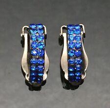 CLIP-ON Sapphire BLUE Antique Hoop Earrings Wedding Crystal Fake Piercing Huggie