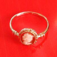 Antik Stil Attraktiver Jugendstil Ring Echt 333 Gold Original Kamee Gemme