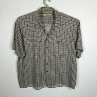 Natural Issue Shirt Size XL Rayon Beige Geometric Print Short Sleeve Mens