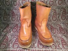Vtg Tan Leather Men's Moc toe Crepe Sole Pull up Boots 9D Made in Korea