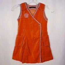 Oilily Girl's Sz 116 ( Sz 5-6) Sleeveless Faux Wrap Velvet Dress Embroidered
