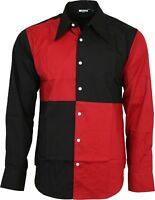 Relco Exclusive Mens Harlequin Jester Black Red Shirt Party Stage Fancy Dress