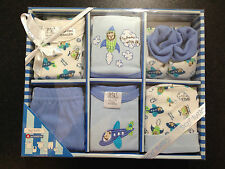 BNIB Baby Boy's Sz 0 to 6 Months Designer BQT Blue Planes 6 Piece Layette Set