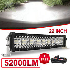 "Tri-Row 22inch 2880W Curved LED Light Bar Spot Flood Truck Offroad VS 52""42""32"""