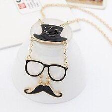 Moustache Mustache Blogger Kette Hut Brille Schnauzer Halskette schwarz NEU