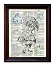 Alice with Clocks - Dictionary Art Print Printed On Authentic Vintage Dictionary