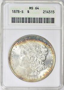 "1878-S Morgan Silver Dollar ANACS MS-64  ""Small White Slab"""