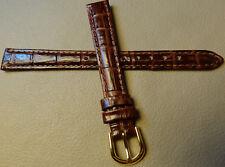 New 12mm Regular Womens Genuine Leather Brown Bamboo Crocodile Grain Watch Band