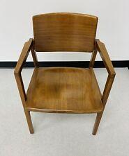 Vintage Gunlocke Co Wood Arm Chair Mid Century Furniture mcm walnut solid wood
