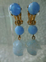 Vintage Blue Beaded Gold Fleck Costume Dangle Clip On Earrings
