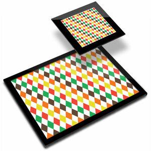 Glass Placemat  & Coaster - Autumn Diamond Pattern Shape Retro  #44175