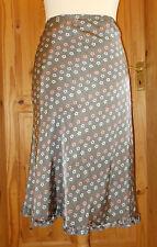 Whistles Grey Salmon Pink Blue Floral Frill Elasticated Waist Midi Skirt 16 44