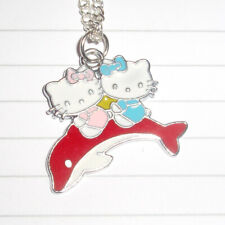 Kitsch Kawaii Enamel Hello Kitty Riding Red Dolphin Charm necklace