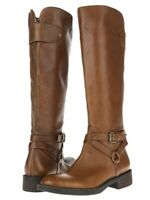 Enzo Angiolini Womens Brown Tan Leather Side Zipper Knee High Boots Size 6.5 M