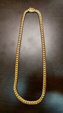 "28"" 14k Gold Plated Sterling Silver Miami Cuban Link Chain, 6 mm 100 grams"