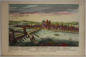 REGENSBURG GERMANY 1730 AVELINE UNUSUAL ANTIQUE ORIGINAL COPPER ENGRAVED VIEW