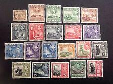 MALTA  1938 KGVI  Complete Set 1/4d-10Sh (21)  MNH/MLH OG