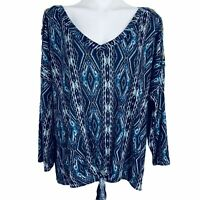 Absolutely Famous Blue Multi Front Tie Women Shirt Blouse. Size 3X. NWT.