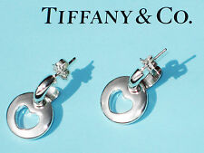 Tiffany & Co Hoop Pierced Sterling Silver Stencil Heart Drop Earrings