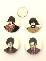 """Vintage The Beatles Yellow Submarine Set of 4 Pc. pin Back Button Vintage 1 1/4"""""""