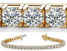 10 carat Round cut Diamond Tennis Bracelet 14k Yellow Gold, G SI1, 39 x 0.25 ct