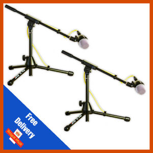 2 x Microphone Boom Stand Short Kick Bass Snare Mic Stand Heavy Duty Microphone