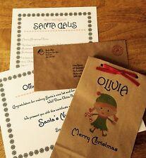 """Personalised Christmas Letter/Santa & """"Nice"""" List Certificate /Naughty Elf Bag"""