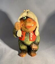 Henning Norway-Hand Carved Troll w/Crown-Signed-Vintage Mid Century-7""
