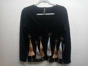 Berek Small Tree Holiday Full zip Beaded Christmas Sweater Size S
